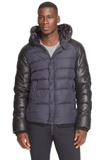 Leather Sleeve Quilted Down Jacket
